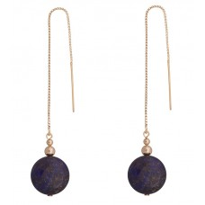 Contour Chain Earrings with Lapis Lazuli