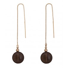 Contour Chain Earrings with Smoky Quartz