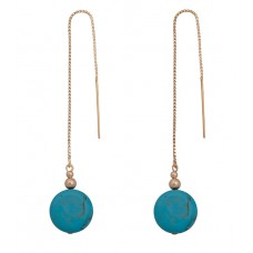 Contour Chain Earrings with Turquoise