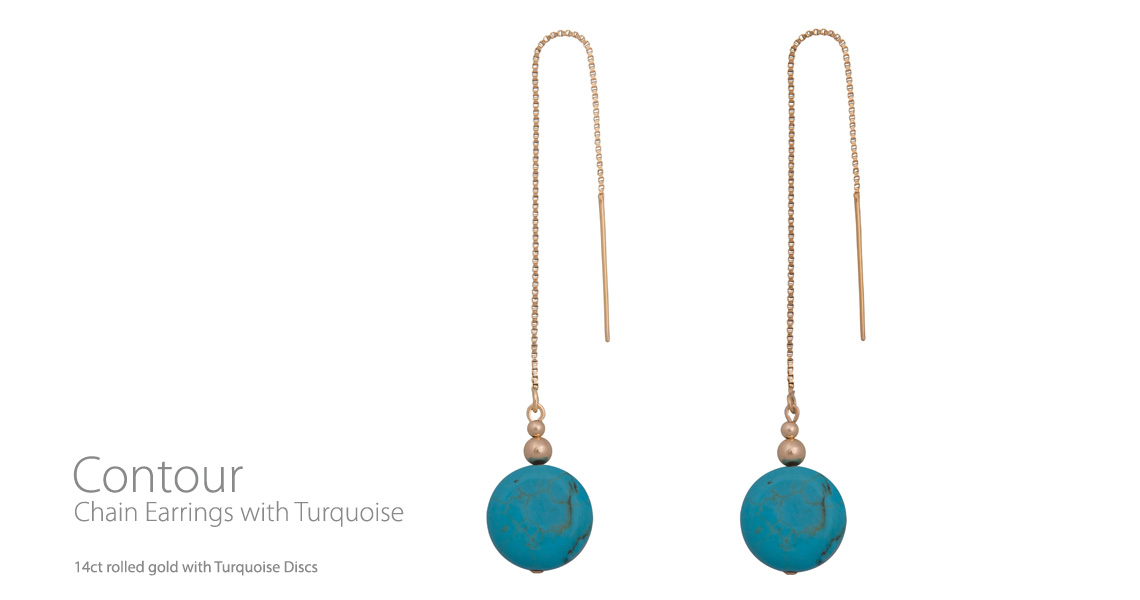 Contour Chain Earrings Turquoise